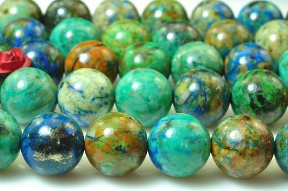 10mm Chrysocolla Beads 10mm Genuine Natural Chrysocolla Gemstone 38pcs Smooth Round Beads 15 Inch Strand Blue Beads Chrysocolla Gemstones