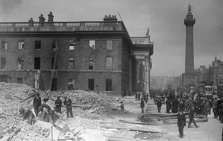 "Before and after the Rising - footage of Dublin in 1915 and 1916 ""Ruins of bombed & burned buildings"" depicted in historic newsreels."