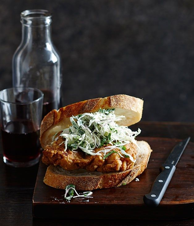 Fried chicken sangers recipe | Chicken sandwich recipe - Gourmet Traveller