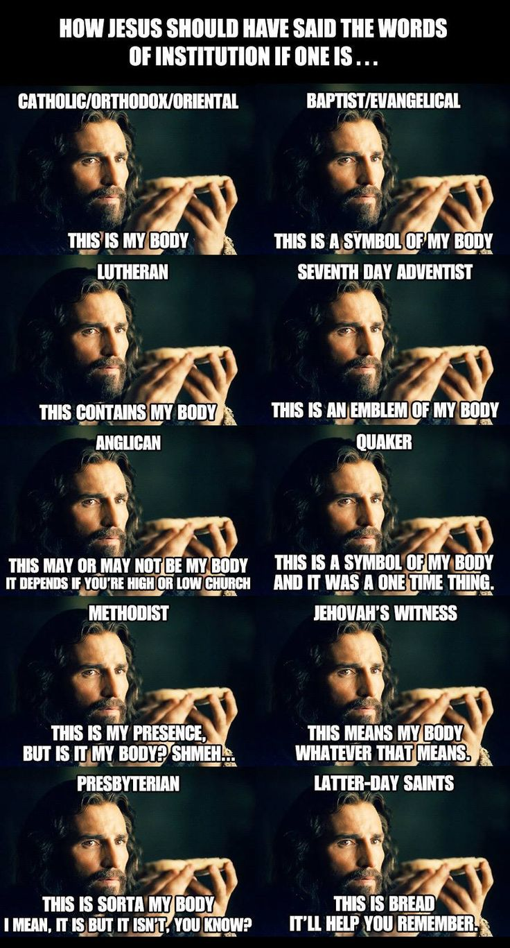 """crucifixwearer: """"Very accurate summations of the various beliefs on the Eucharist. """""""
