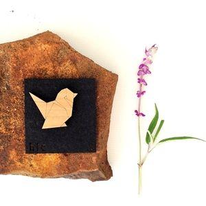 Origami Sparrow Brooch