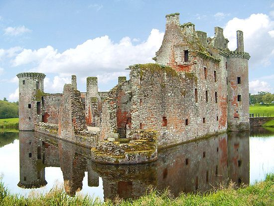 Scotland - Caerlaverock Castle is a moated triangular castle first built in the 13th century. It is located on the southern coast of Scotland. Caerlaverock was a stronghold of the Maxwell family from the 13th century until the 17th century when the castle was abandoned. It was besieged by the English during the Wars of Scottish Independence, and underwent several partial demolitions and reconstructions over the 14th and 15th centuries.