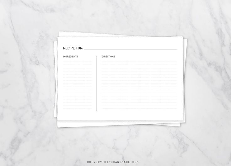 The 1371 best Recipe Cards / Frames / Background Paper images on - black and white recipe card template