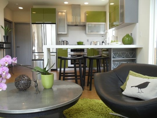 Wood basement and gray white green furniture ...love it!!!!  Coordinating kitchen and living space