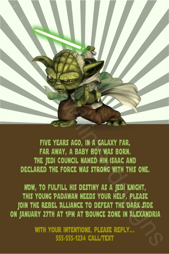 Star Wars Yoda Printable Birthday Party Invitation Diy