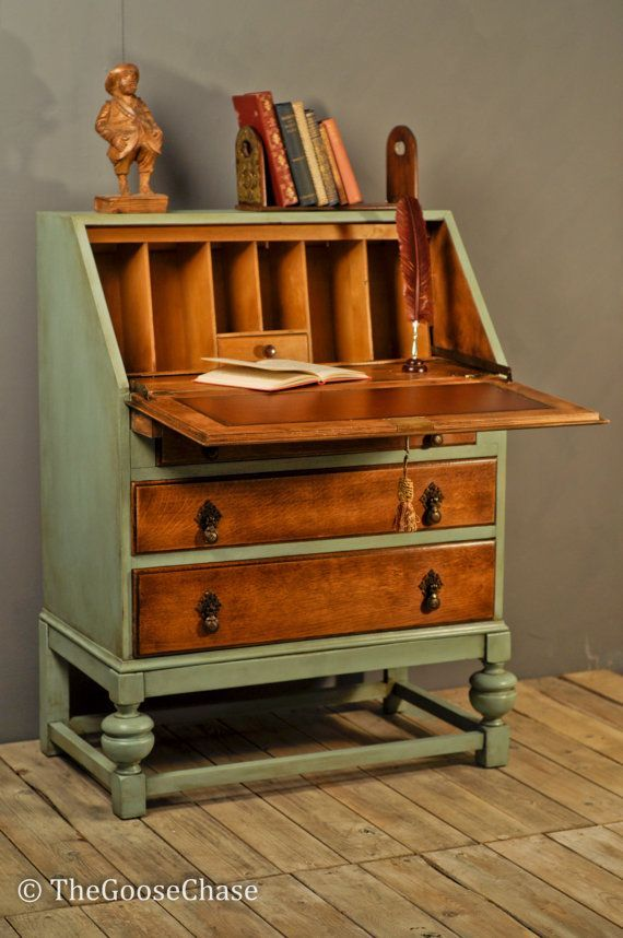 Beautifully upcycled bureau ... leaving some of the original wood exposed combined with heritage green distressed paintwork makes for a very attractive end result.