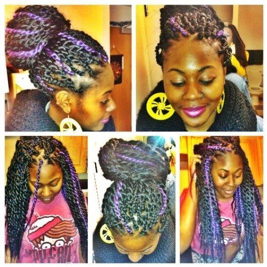 Purple Senegalese twists