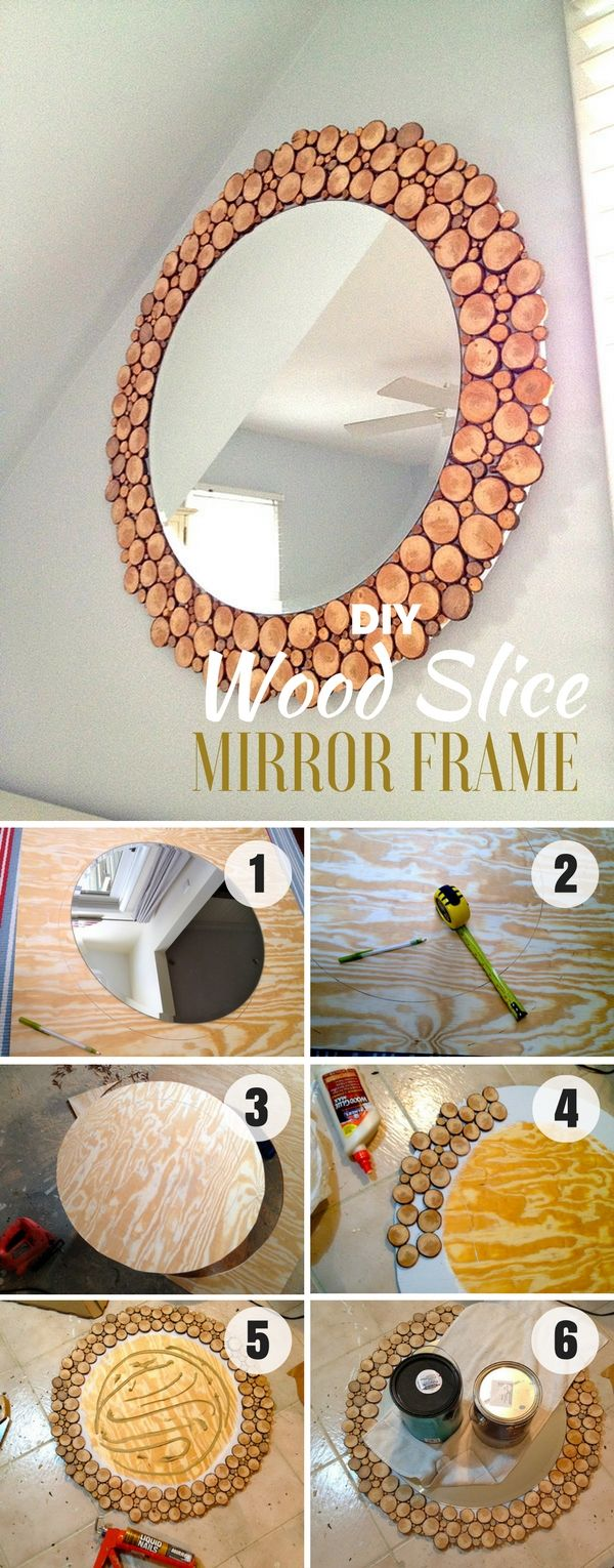 Check out how to build this easy DIY Wood Slice Mirror Frame @istandarddesign