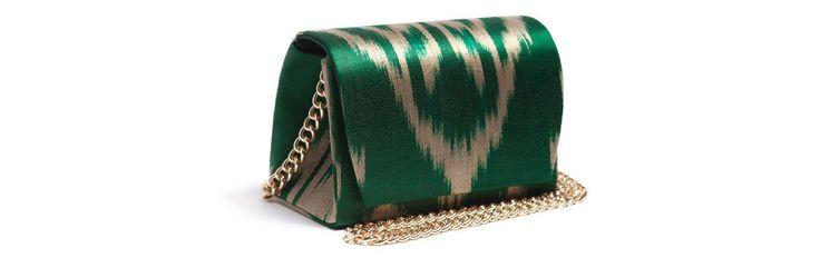 Зеленая сумка - сундучок из сатина, с цепочкой