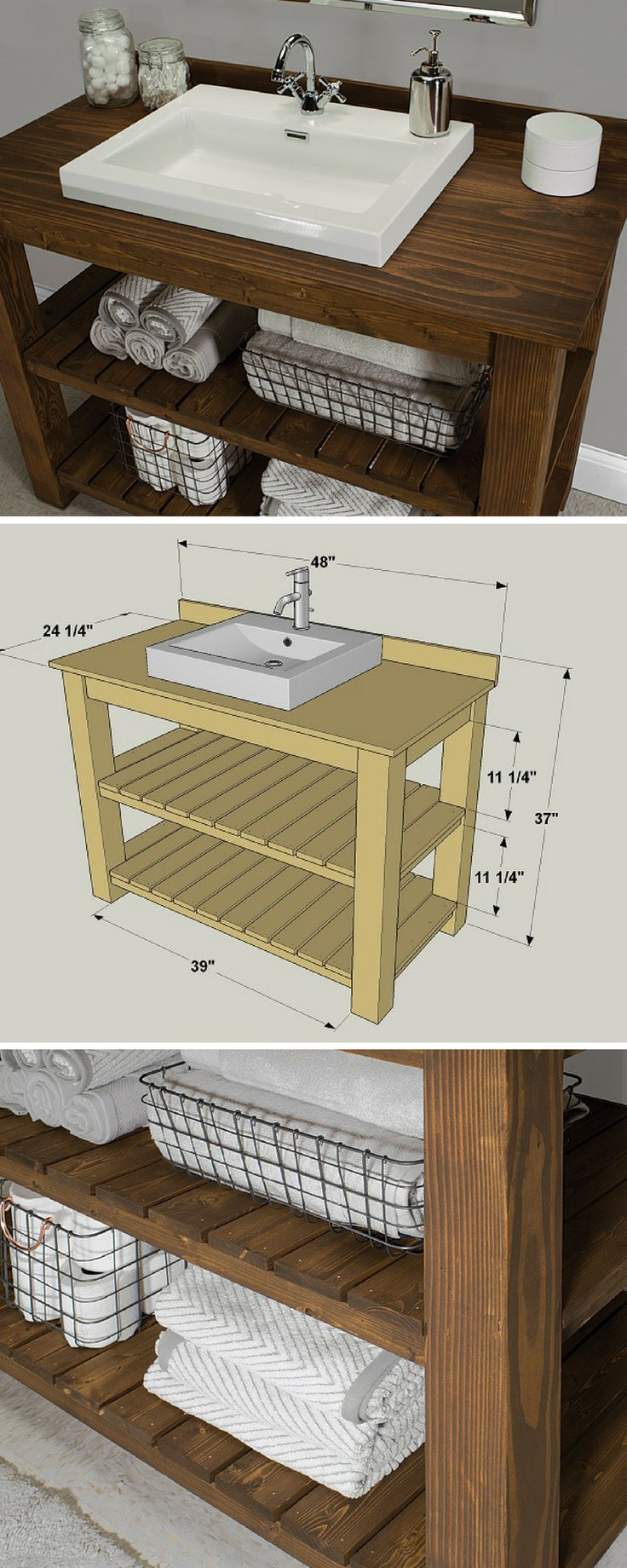 By combining simple lines and stained-pine construction with a modern-style sink, this vanity combines rustic and contemporary for a sophisticated look. That makes it perfect whether your style leans toward farmhouse or contemporary. Plus it offers large shelves for storage, and it's easy to build.