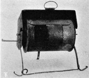 Roaster with Three-Sided Hood It succeeded the cast-iron spider, and was suspended from a crane, or stood in the embers