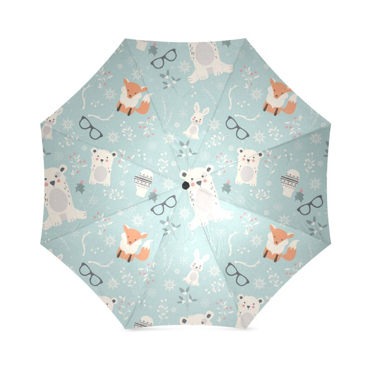 Cute Hipster Winter Animal Pattern Foldable Umbrella