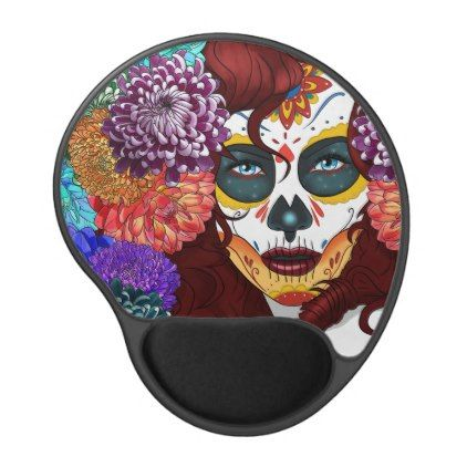 Day of the dead Gel mouse matt Gel Mouse Pad - floral style flower flowers stylish diy personalize