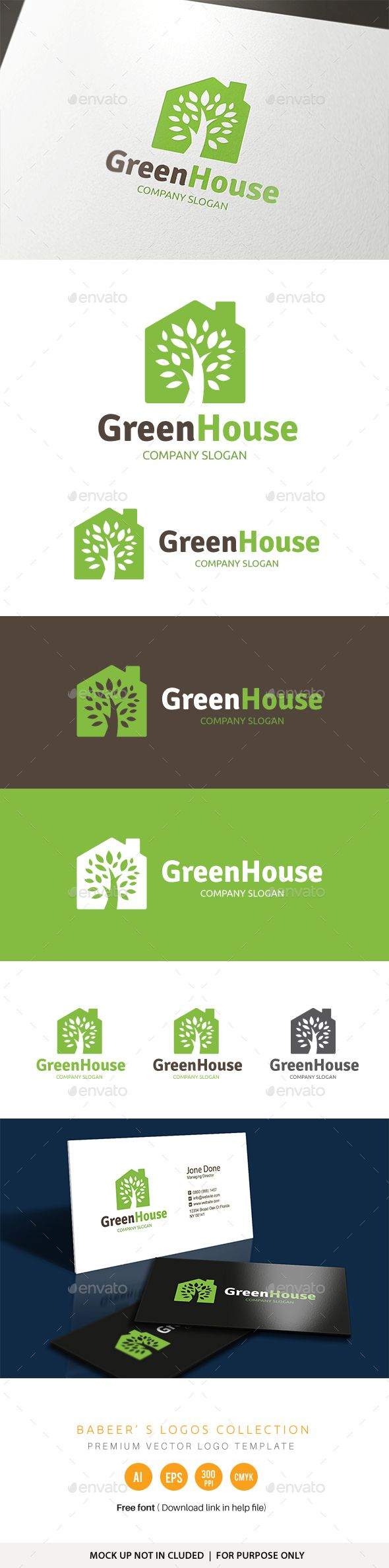 Green House Logo — Transparent PNG #real estate #eco • Available here → https://graphicriver.net/item/green-house-logo/18567772?ref=pxcr
