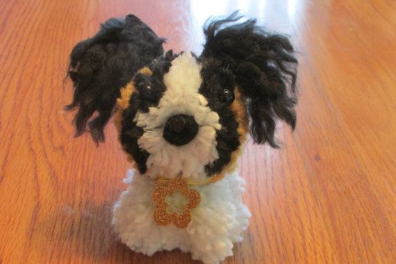 Papillon Pom Pom Puppy Teacup Pup by brilliANNtCrafts on Etsy