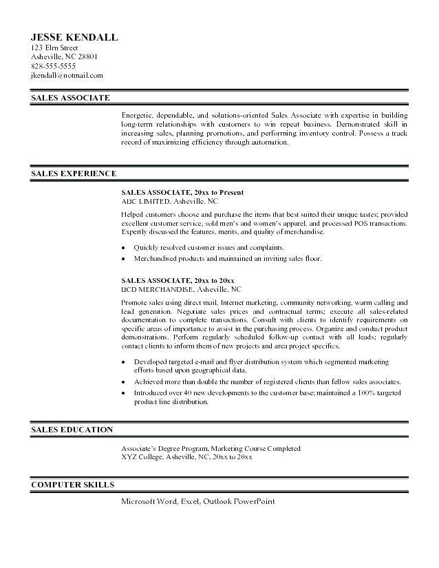 sales associate skills for resumes