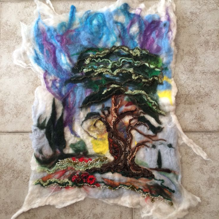 My wet felted picture inspired by my garden in Crete. Dry needle felt overlay