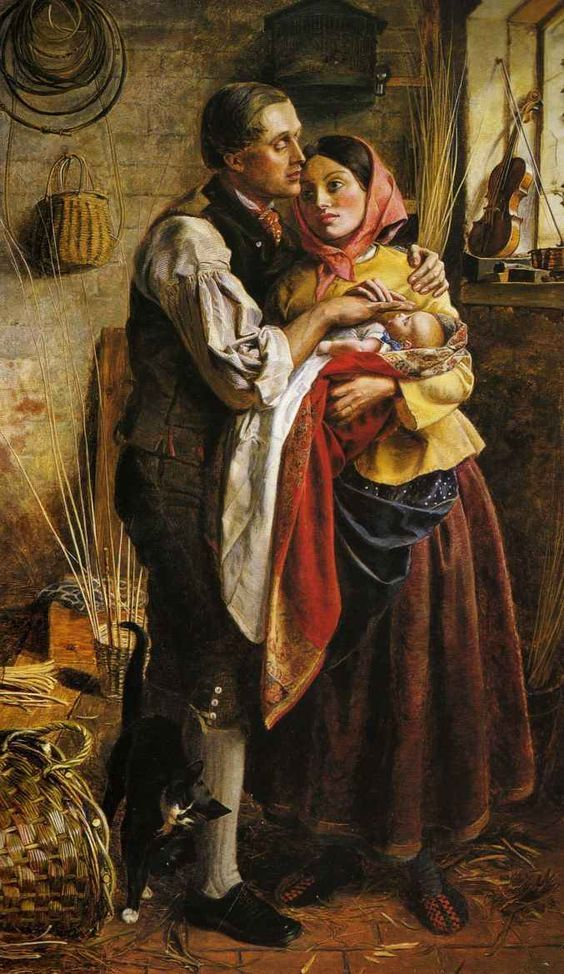 Blind Basket Maker with His First Child by George Elgar Hicks {c.1856} Victorian British painting: