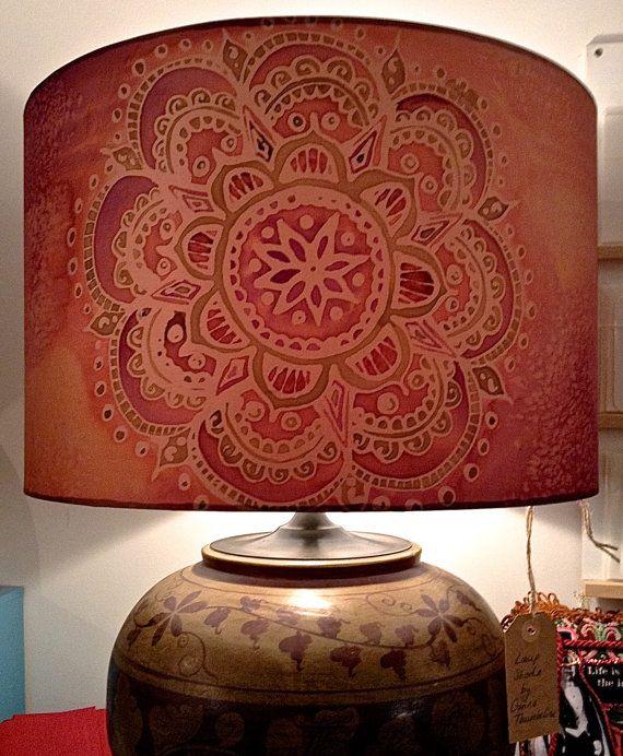 Indian Mandala Peach/Purple Hand Silk Painted Lamp Shade