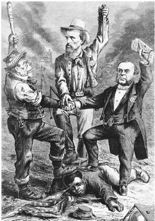 "Southern defiance of Reconstruction, depicted here by the three men thug with a club in his hand and bottle in his pocket; a Confederate soldier holding a dagger with the words ""the lost cause"" on it; and a wealthy man with ""capital for votes"" in his handtanding over a black man, who appears to have been holding a U.S. flag. In the background a black orphanage and school burn. The caption reads, ""'We regard the Reconstruction Acts (so called) of Congress as unconstitutional and…"