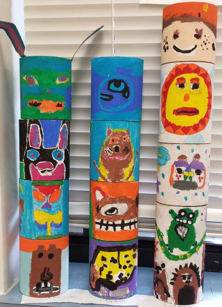 Collaborative totem poles.                            4th grade