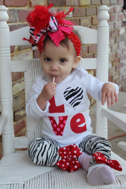 Baby Girl Valentine Outfit SET -- Little Diva Valentine -- bow, leg warmers and zebra love onesie. $54.00, via Etsy.