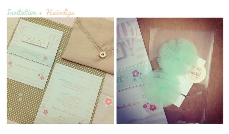 The Invites for Victoria's birthday, her mom choose a hot air balloon theme :) + a matching hairpin for the birthday girl.