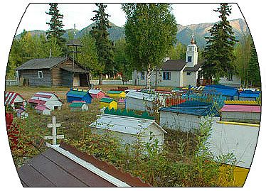 eklutna historical park. old russian orthodox church & spirit houses.