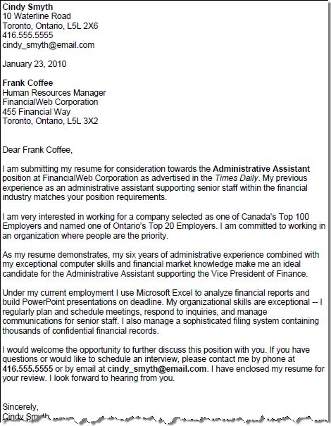 sample cover letters for administrative assistant Fieldstation