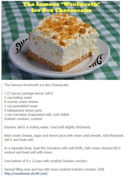 The Famous Woolworth Ice Box Cheesecake