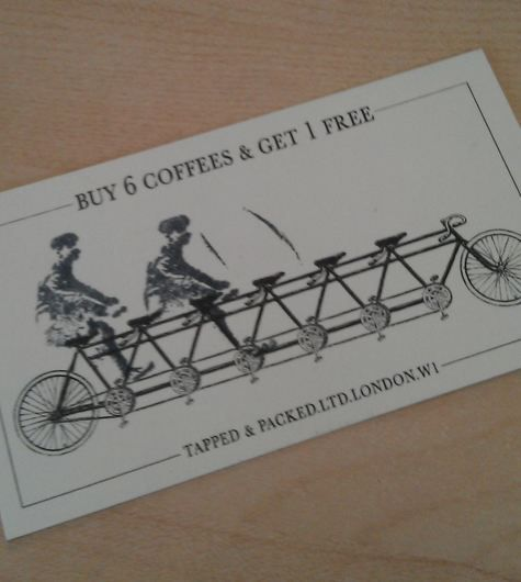 Clever design for a coffee loyalty card by Tapped & Packed, London.