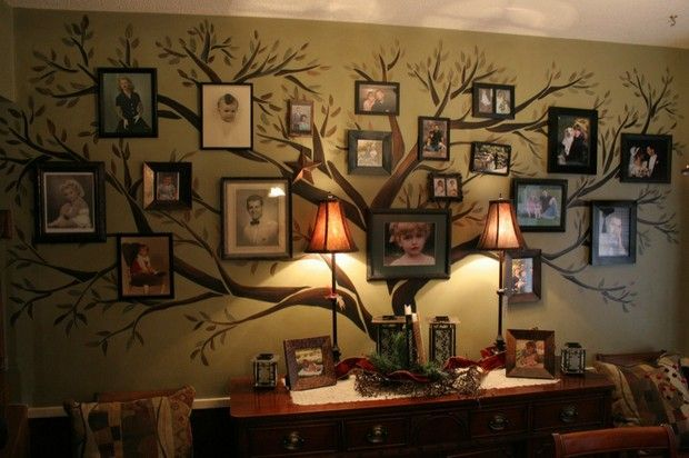 painted tree as a background for a wall of family pictures