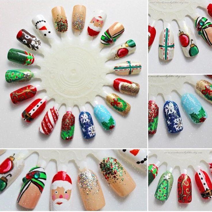 Christmas Finger Nail Art: Christmas Themed Finger Nail Designs