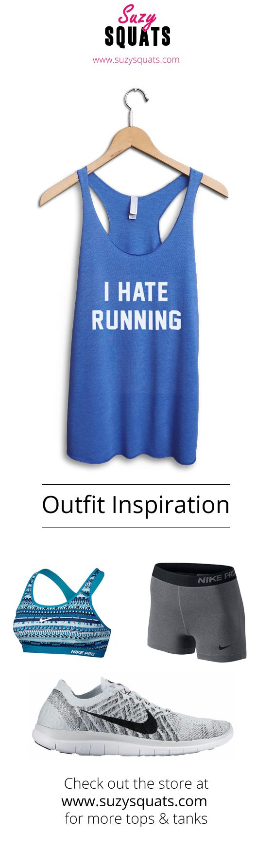 Show everyone how much you love running with this Suzy Squats running workout top, suitable as part of your running outfit or for casual wear. Click the link above to see more workout clothing that's perfect for even the most intense cardio workout at the Suzy Squats store.