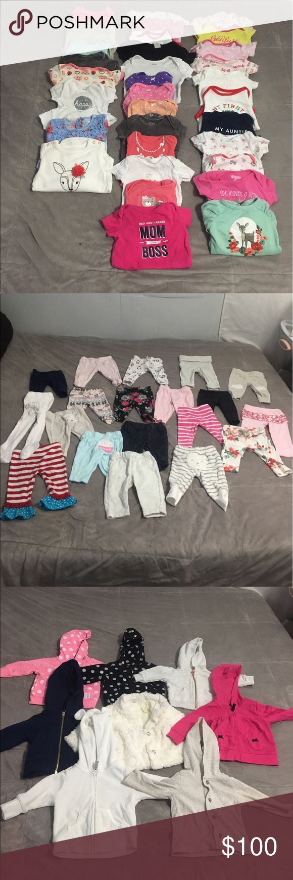 0-3 month baby girl clothes 85 pieces! Sets, jackets, pants, onesies, dresses, footie pjs, pj gowns! Everything is in really good condition except maybe 3 pieces have some light staining around the collar from drool or spit up. Some pieces still have tags attached. Everything is 3 month old except one of the jackets is a nb, and a few of the pjs are a 6mo and a 9mo. My daughter outgrew them before she hit that age. Asking $100 for everything. (I recycle the money to buy her new clothes) One…