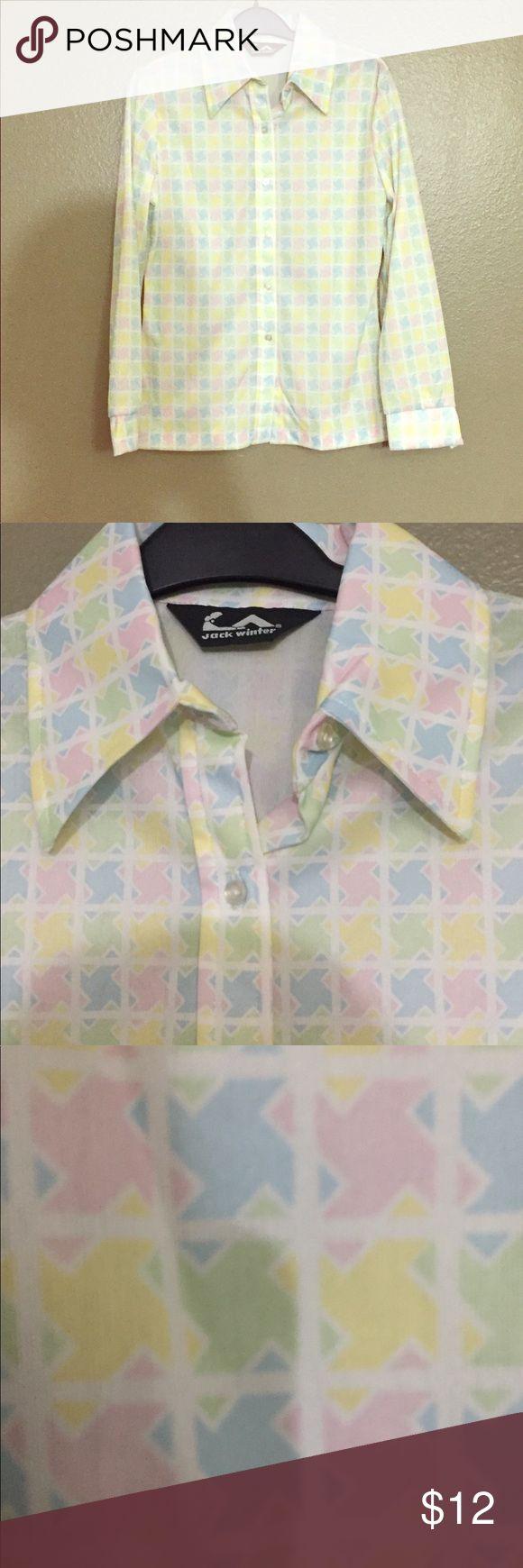 Vintage 70s Pastel Print Jack Winter Button-Up S Vintage 70s Pastel Pink Blue Green  Print Jack Winter Button-Up Shirt. Then Sz 12 Now S. Good vintage condition. Jack Winter Tops Button Down Shirts