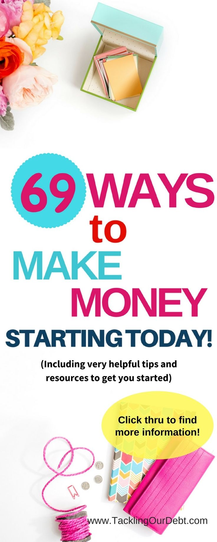 Ways to Make Money! Need to find new ways to earn money? Here are 69 ideas on how to make money. And the best part is that you can get started today, and make money based on your flexible schedule. Plus, you will find very helpful tips and resources to get you started making money. Click thru to learn more!