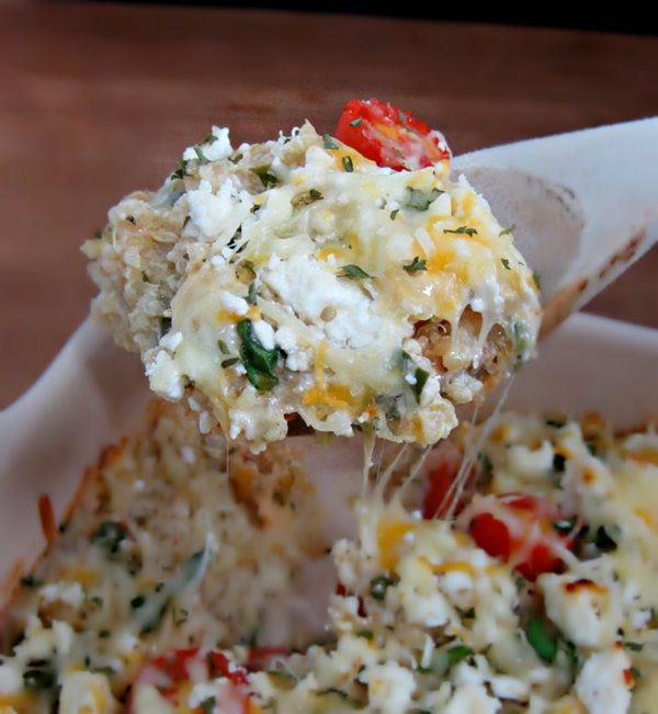 Cheesy Greek-Style Baked Quinoa! this deliciously easy dish has only 5g fat and a whopping 12g protein per serving!