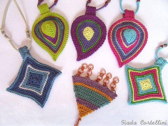 Crochet necklacefiber necklacecrochet by GiadaCortellini on Etsy