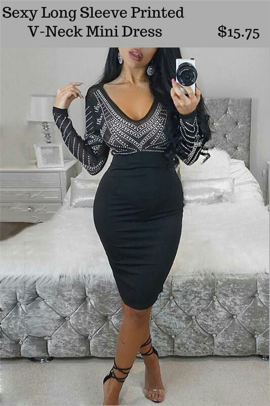 65% OFF Sexy Long Sleeve Printed V-Neck Mini Dress $15.75   #DRESSES #TOPS #BOTTOMS #SWIMWEAR #SHOES #KIDS #PLUSSIZES #LINGERIE #ACCESSORIES #SALE #Bandage #Pencil #Maxi #Lace #Chiffon #Mini #Vintage #Evening #LongSleeves #Casual #T-shirt #Blouses #Sweatshirts #Hoodies #Sweaters #Cardigans #Outerwear #SuitSets #Bodysuit