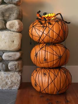 Halloween Pumpkin Topiary With Spiders   DIYNetwork.com