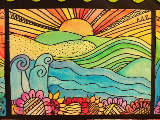 5th grade, 4th grade, 6th grade,  Warm/cool landscapes, watercolors, foreground, mid ground, background,