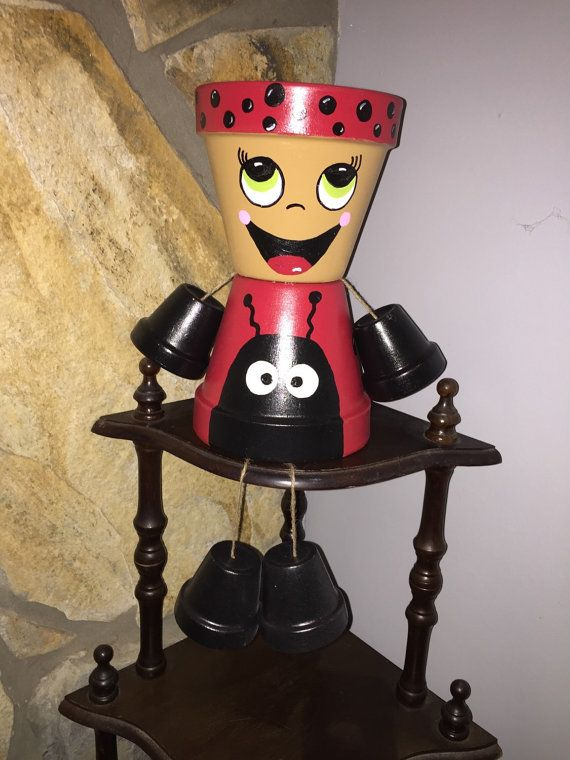 Lady Bug Flower Pot People by ShadyPenguins on Etsy