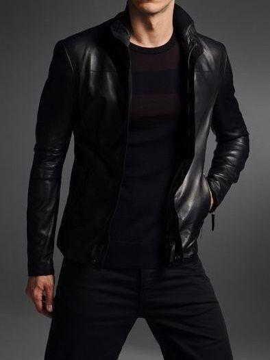 Men slim fit leather jacket men leather jacket Men black fashion ... 3221920293c07