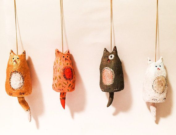Ceramic ornament : miniature pussy cat with a by ceramicsnippets
