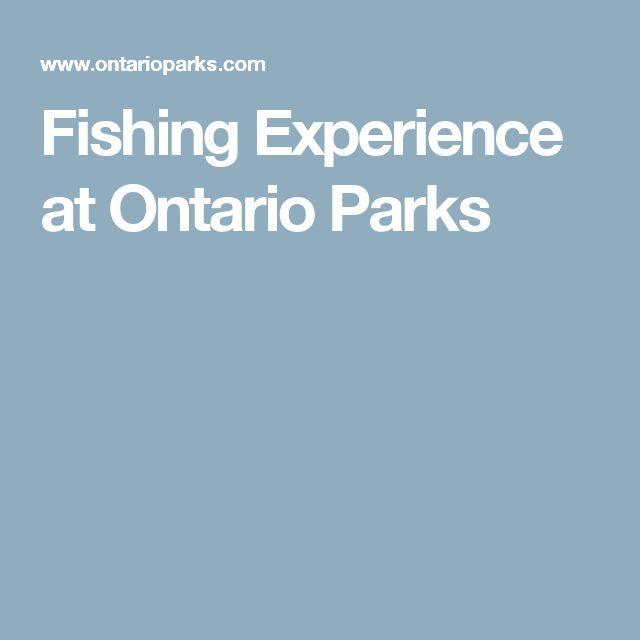 Fishing Experience at Ontario Parks