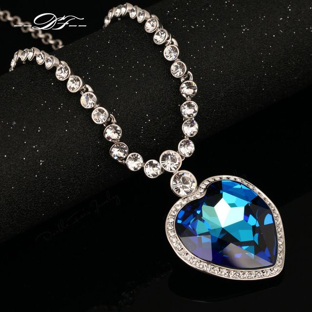 Great Value $25.27, Buy Top Quality Love Hearts Big Blue/Yellow Crystal 18KRGP Necklaces & pendants Crystal Jewelry For Women colares DFN586M