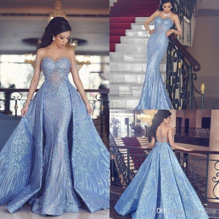 2018 Yousef Aljasmi Arabic Mermaid Prom Dresses With Detachable Train Sheer Long Sleeve Dress Evening Wear Lace Appliqued Formal Party Dress 2