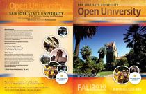 Project of the Day: This cover for the SJSU Open University brochure represents a landmark change in design. Previous to this edition, covers were lacking in appeal and failed to reach out to the intended audience. I hired a remarkable new contract designer (Ronnie Garver) and together he and I envisioned a bolder, more assertive graphical interface that would stand out from the crowd. I feel we were quite successful.