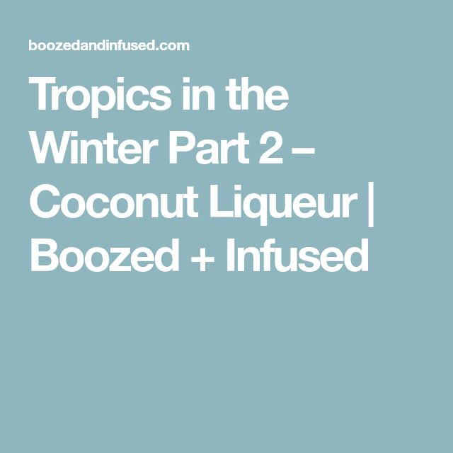 Tropics in the Winter Part 2 – Coconut Liqueur | Boozed + Infused